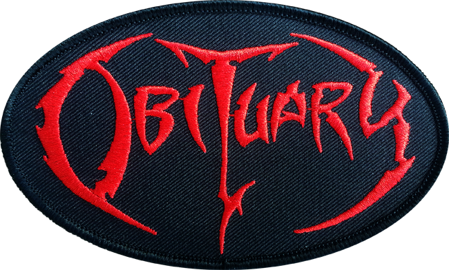 Obituary Red Logo - Oval Embroidered Patch